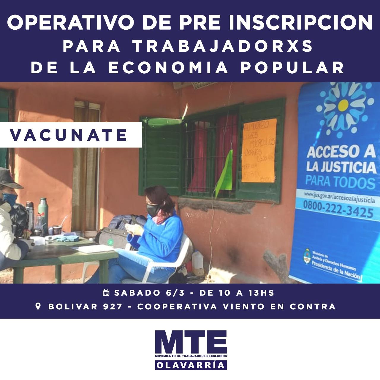 Vacunación COVID: Preinscripción para trabajadores de la economía popular